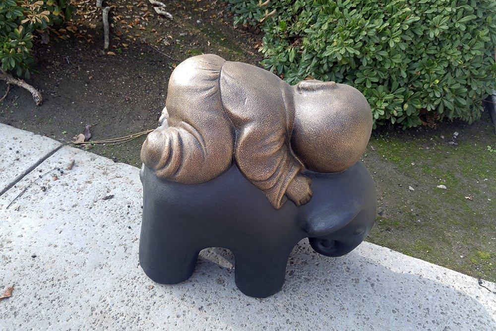 Shaolin Monk on Elephant Buddha Zen Garden Statues Good Luck Elephant - Rustic Gold