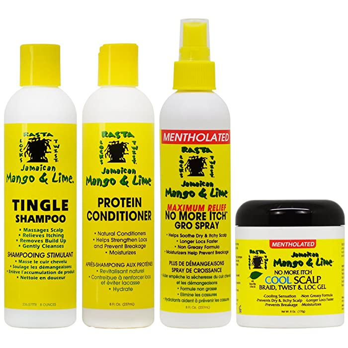 "Jamaican Mango & Lime Cooling Scalp Care 4-piece""Set"" (Shampoo, Conditioner, Maximum Relief Spray 8 oz, Cool Scalp Braid and Twist & Loc Gel)"