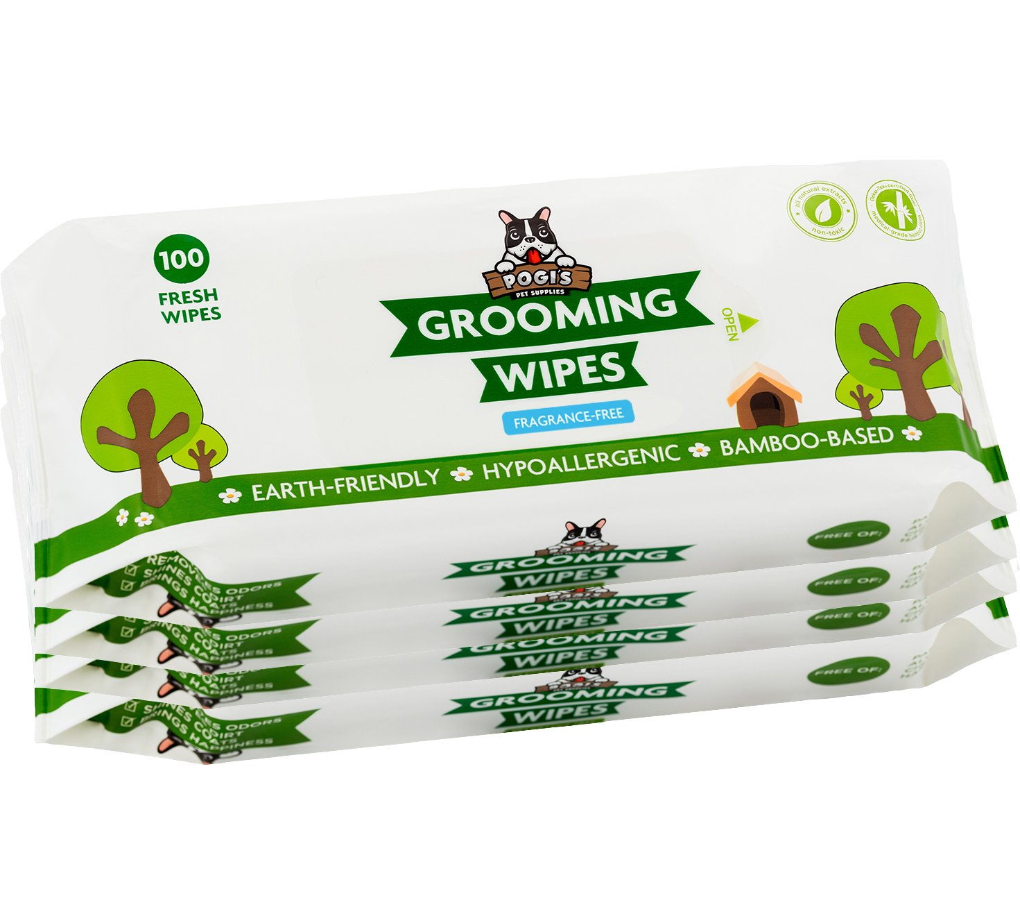 Pogi's Grooming Wipes - 400 Deodorizing Wipes for Dogs & Cats - Large, Hypoallergenic, Fragrance-Free