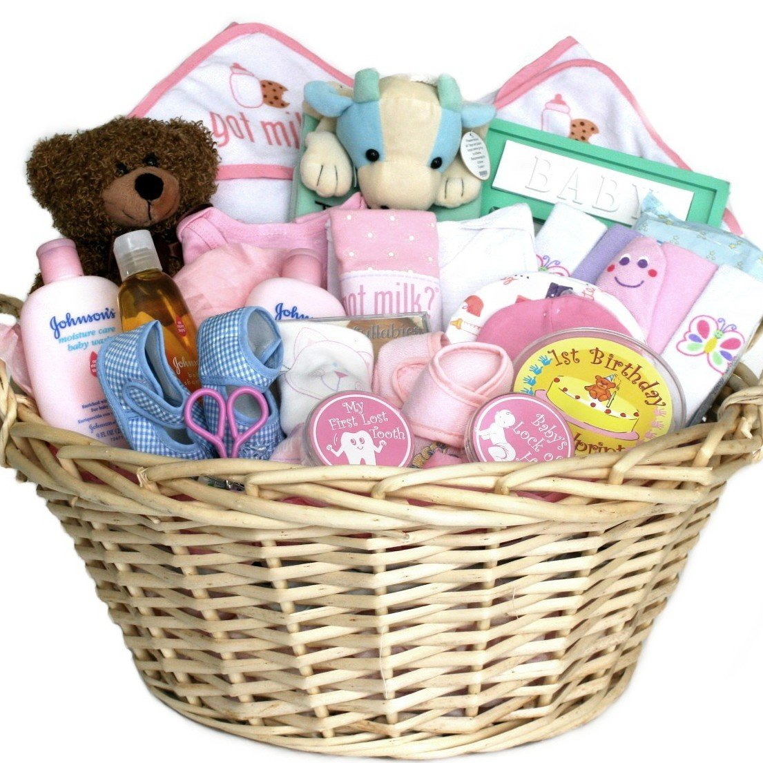 Amazon deluxe baby gift basket pink for girls shower or amazon deluxe baby gift basket pink for girls shower or christmas holiday gift idea for newborns baby negle Images