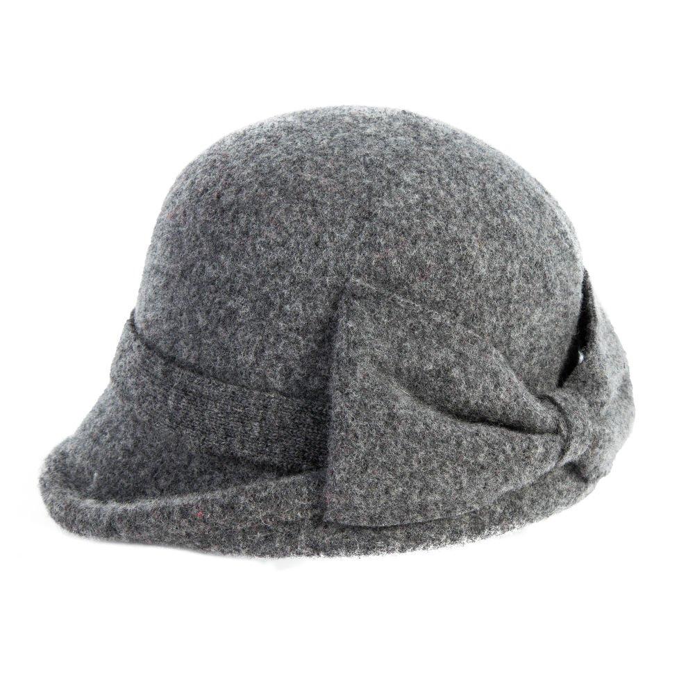 Siggi Womens Vintage Wool Felt Cloche Bucket Bowler Hat Winter Foldable Warm Grey