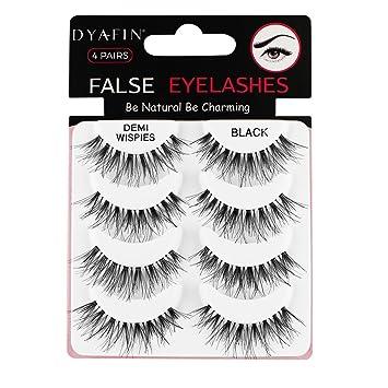 4087e1cf558 Natural 3D Fake Eye Lashes Multipack DYAFIN False Eyelashes Lightweight  Handmade Long Lasting Eyelashes Black Full