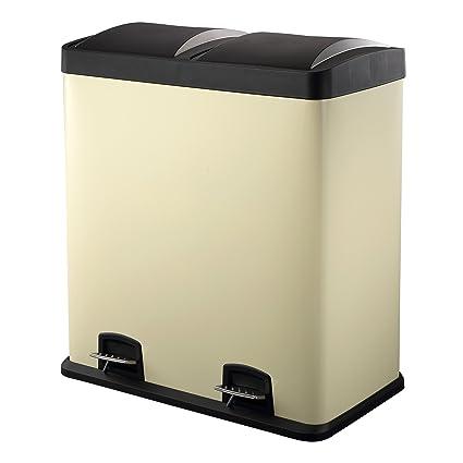 HARIMA - Cubo Basura Reciclaje Color Crema Con Pedal y Tapas De Plástico - Dual 60L