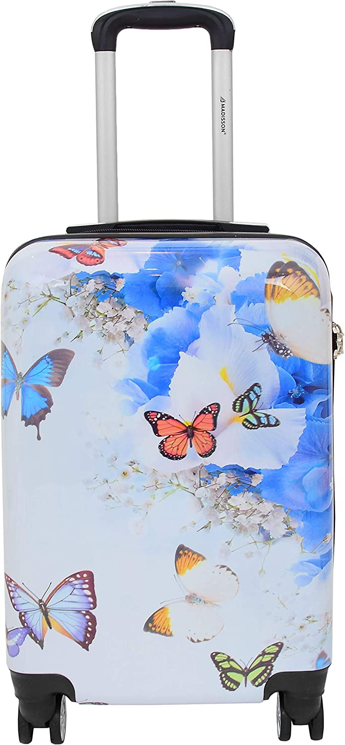Cabin Size Suitcase Multi Butterflies Built-in Lock Carry On Board 4 Wheel Hand Luggage Cosmos