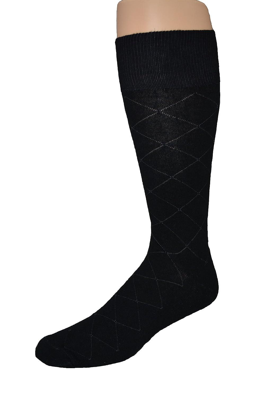 Men's Big and Tall Black Patterned Dress Socks - 2pr. pack - Made in USA (Black) 371asst