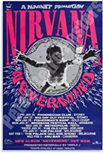 Nirvana Vintage Concert Movie Poster Nevermind Australian Tour Poster,1992) Replica (Digital Download Print It Yourself) Canvas Art Poster and Wall Art Picture Print Modern Family bedroom Decor Poster