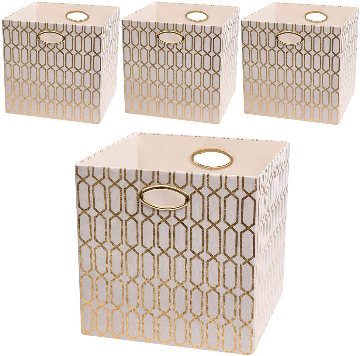 Posprica Foldable Storage Bins - 13x13 Fabric Storage Cubes Basket Boxes Containers Drawers (4pcs, Cream)