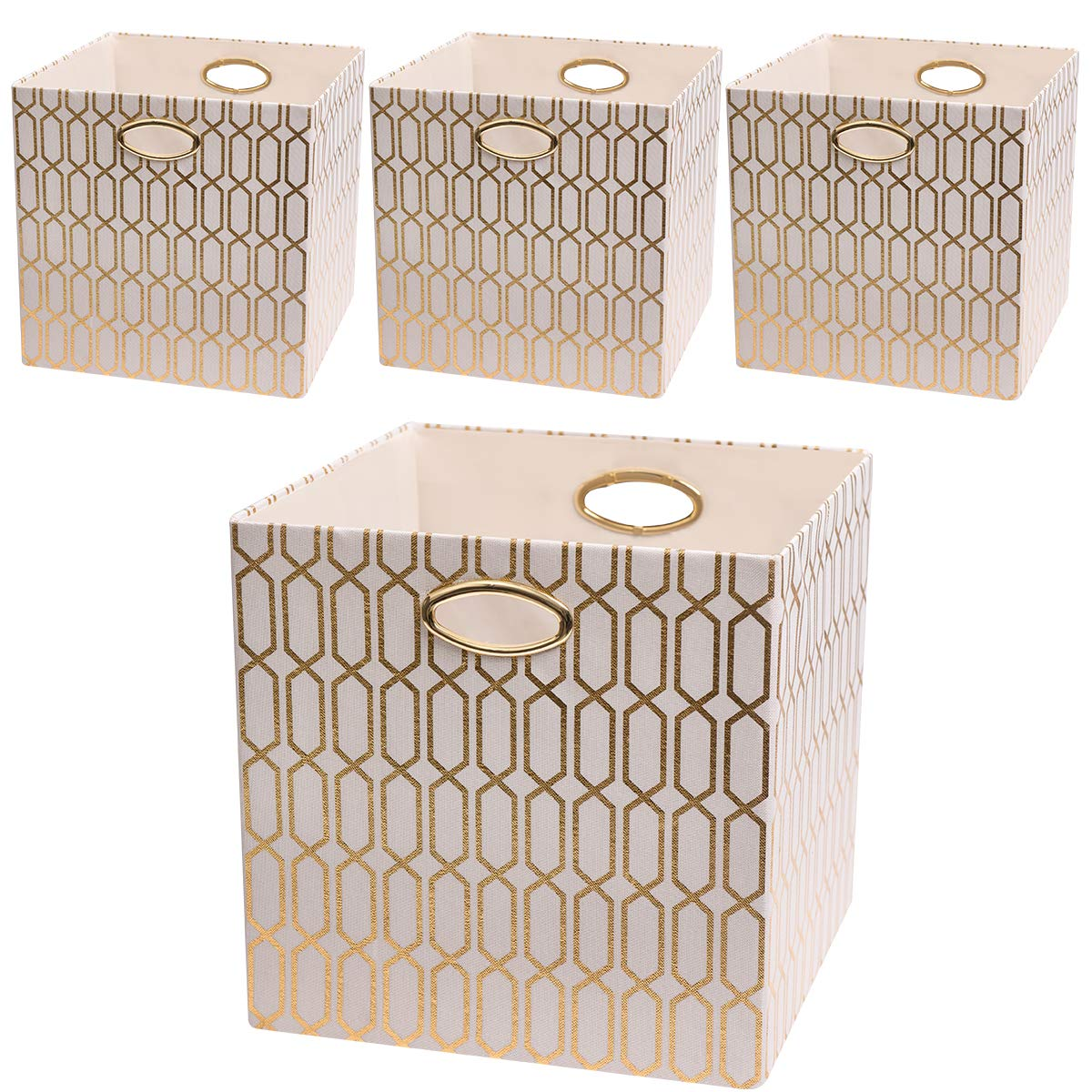 Posprica Foldable Storage Bins - 13x13 Fabric Storage Cubes Basket Boxes Containers Drawers (4pcs, Cream) by Posprica