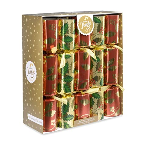 Christmas Crackers Hat.10 Christmas Crackers Deluxe Gifts Party Hat Joke 10 X 14 Crackers Red Gold Holly