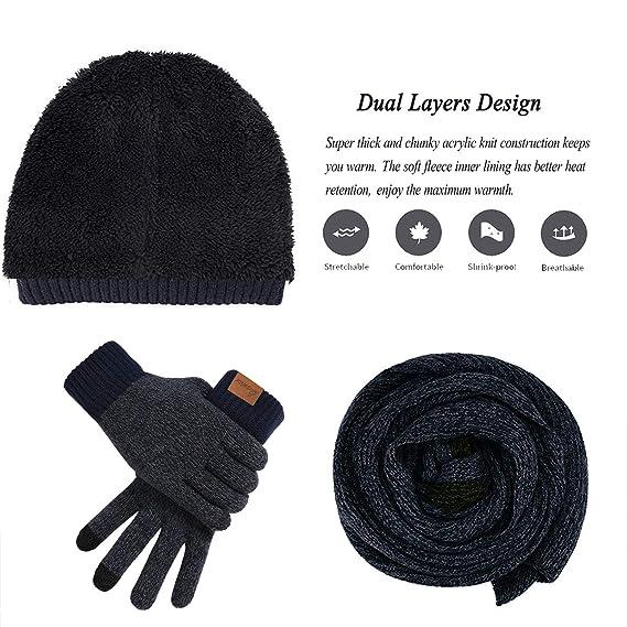 Gorro de invierno para hombre, bufanda y guantes para pantalla ...
