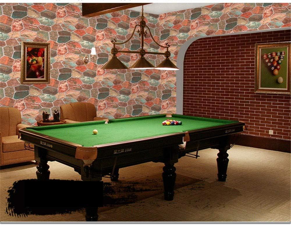 Estéreo 3D simulación color rock wallpaper retro piedra patrón caliente olla tienda cafetería internet café wallpaper rojo,53 X 1000CM(21in X 394in): Amazon.es: Bricolaje y herramientas