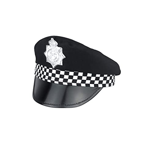 POLICE MAN PANDA CAP FRONT CHECK BAND BOBBY COP ADULT FANCY DRESS COSTUME HAT