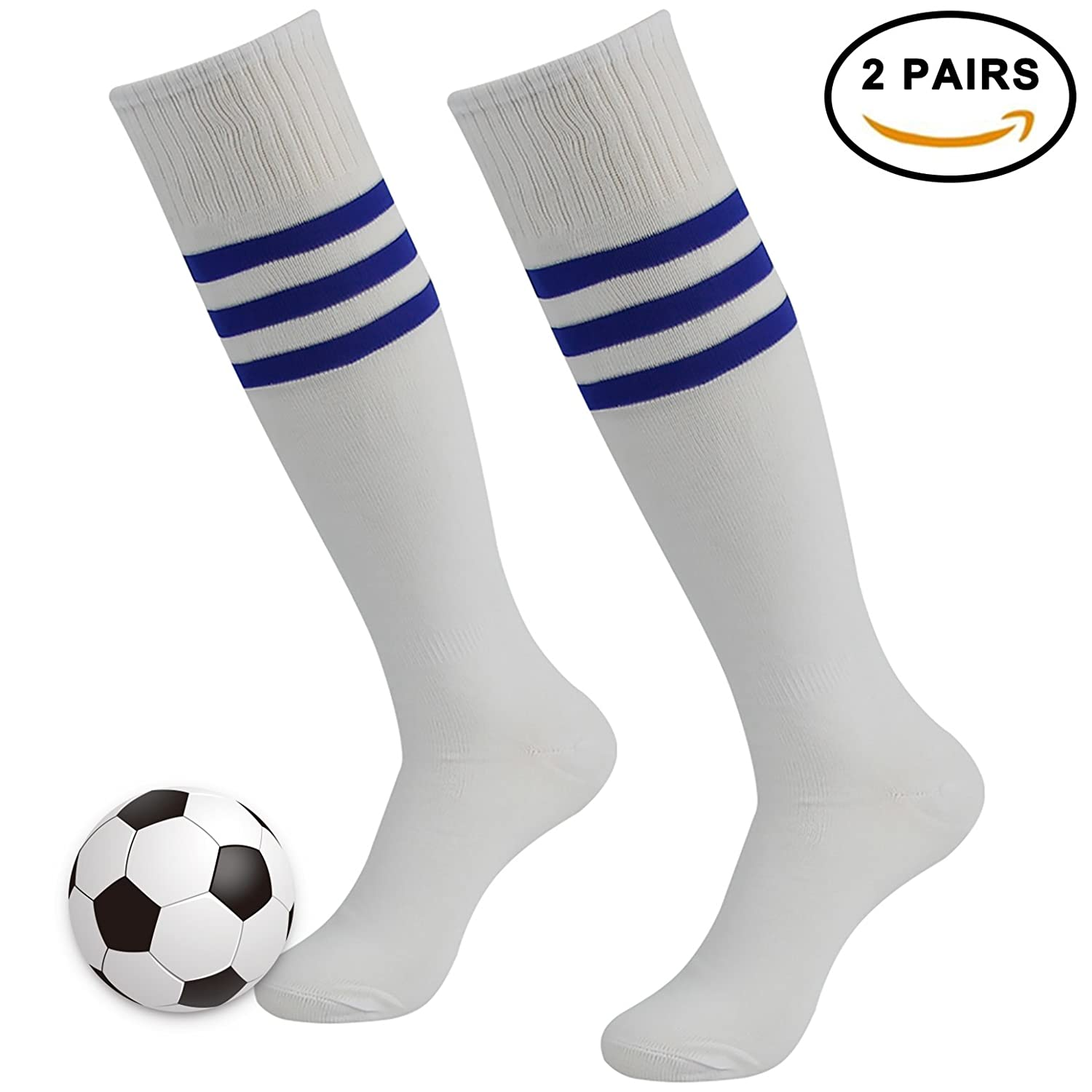 3streetユニセックスover calfストライプ/ソリッドロング冬スポーツSoccer Football Socks B077HTL4CQ 2 Pairs White with Blue Stripe 2 Pairs White with Blue Stripe
