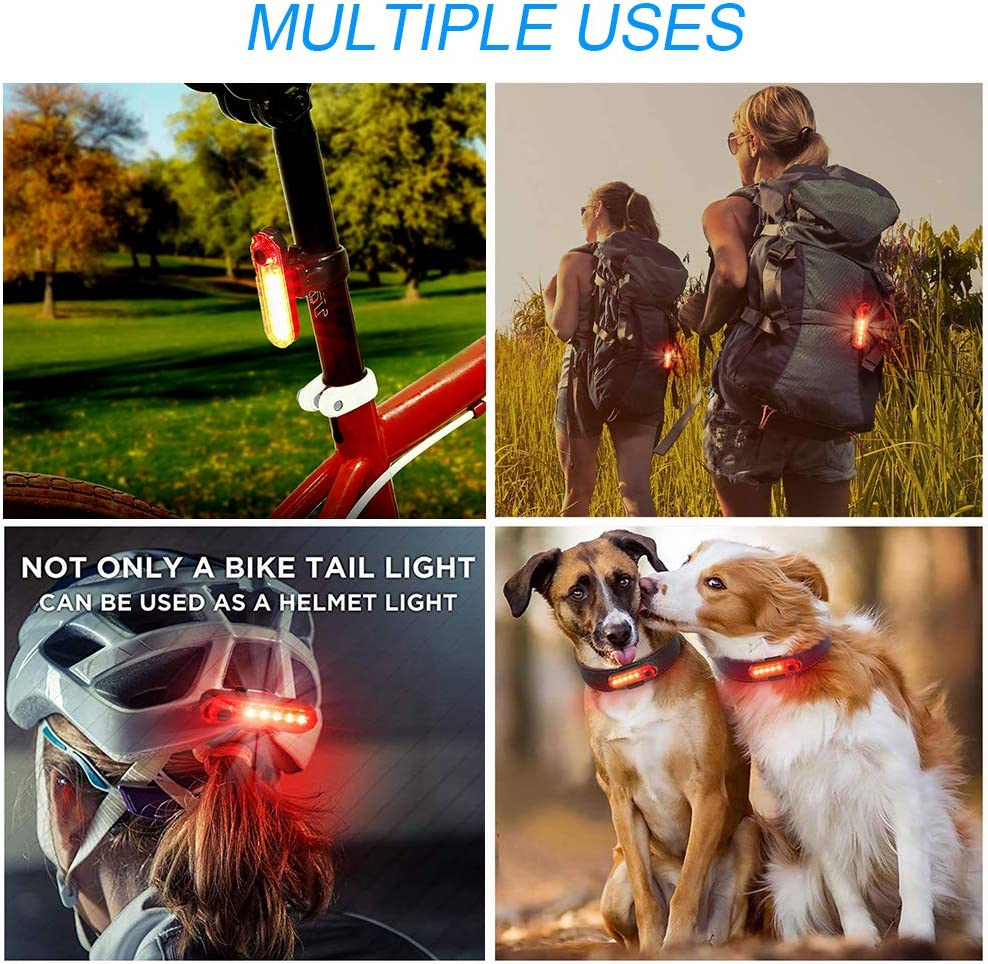 Ultra Bright USB Rechargeable Bicycle Taillights Easy to Install for Cycling Safety Flashlight JMF Bike Tail Light Red High Intensity Led Accessories Fits On Any Bike or Helmet