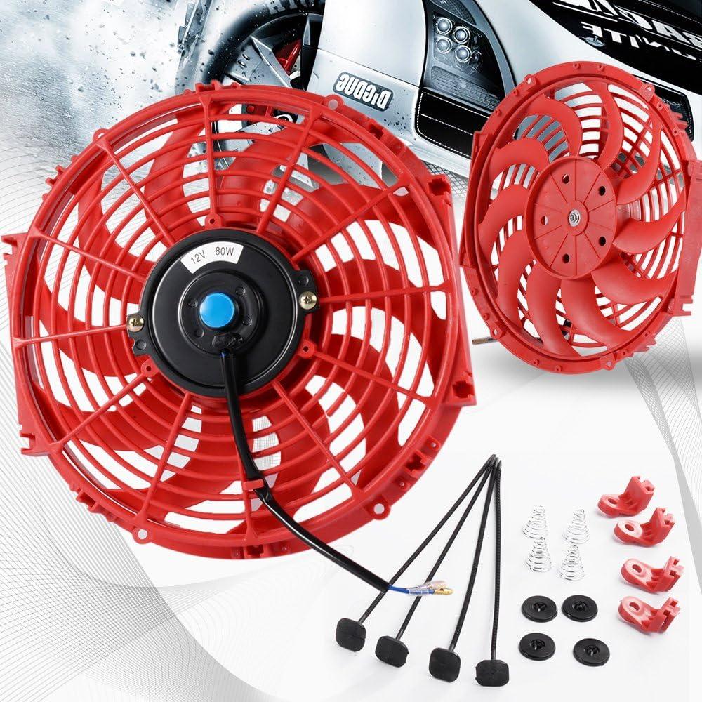 "1X 10/"" Slim//Thin 12V Push//Pull Electric Radiator//Engine Cooling Fan Blue Jdm"