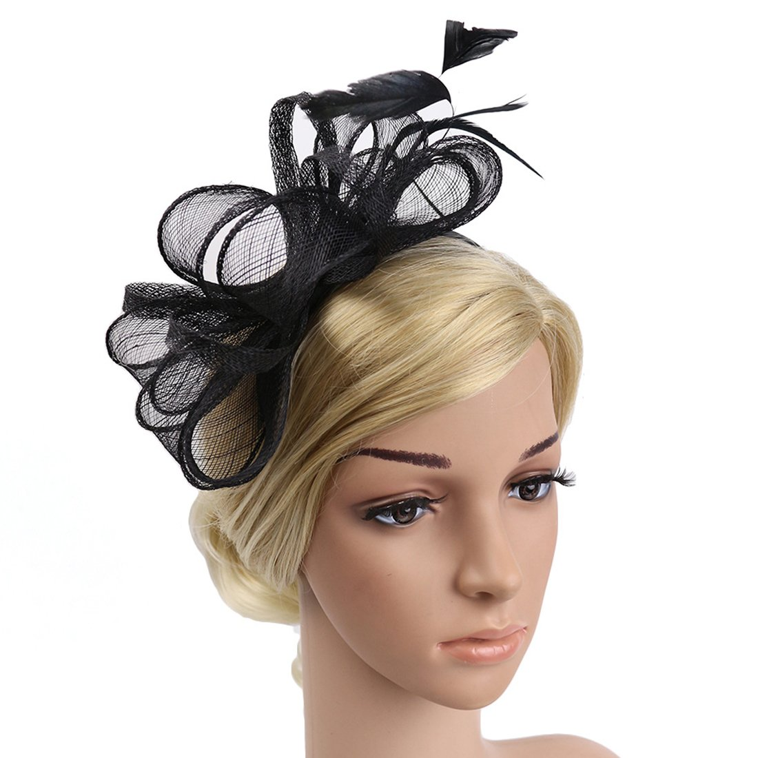JaosWish Sinamay Vintage Women Fascinators Derby Hat Feather With Headband Cocktail Headpiece For Tea Party Wedding