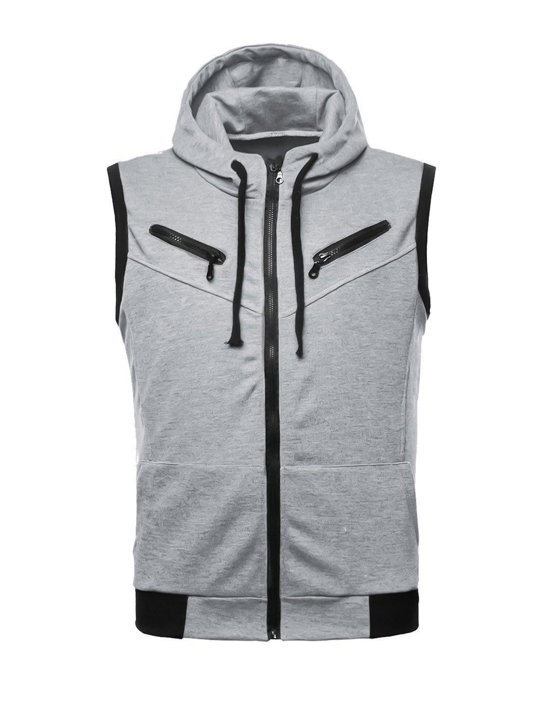 uxcell Men Summer Zip Up Kangaroo Pocket Drawstring Hooded Vest