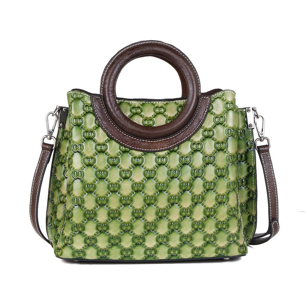 shengweiao dam äkta läder handväska mode topp handtag handväskor gRÖN