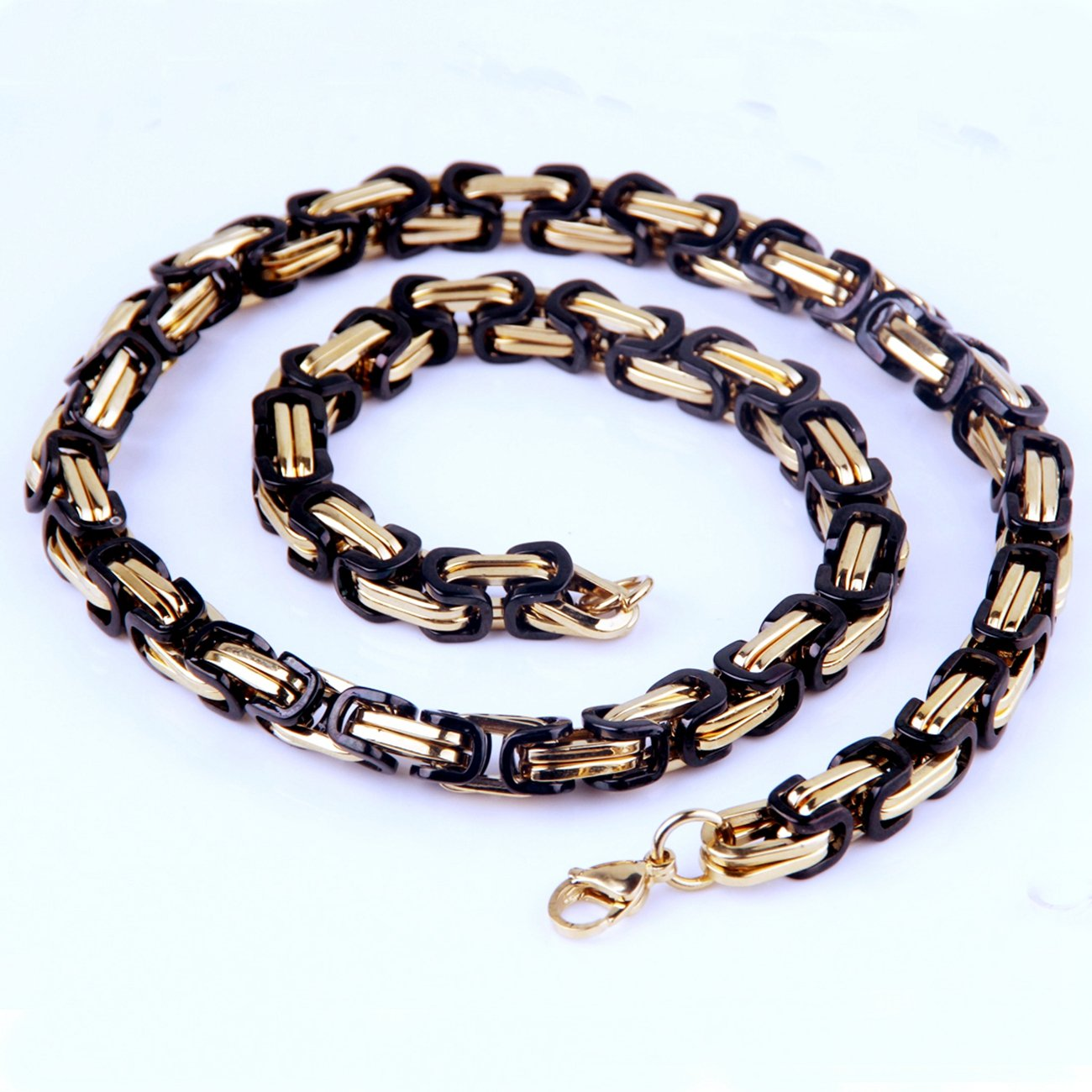 Innovative jewelry 5mm Beauty Black Gold Tone Elegance Mens Stainless Steel Byzantine Chain Necklace,16-40