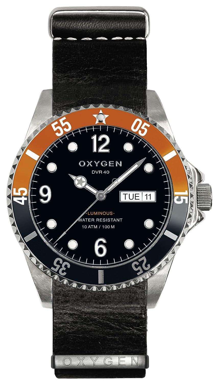 Oxygen Snooker 40 Herren Quarzuhr mit schwarzem Zifferblatt Analog-Anzeige und schwarzem Lederarmband EX-D-SNK-