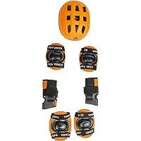 Ek Retail Shop Yonker 4 In 1 Skating Protective Kit (Knee Guard Elbow Guard Wrist Guard And Plastic Helmet) YS-1401 Orange Color - Senior