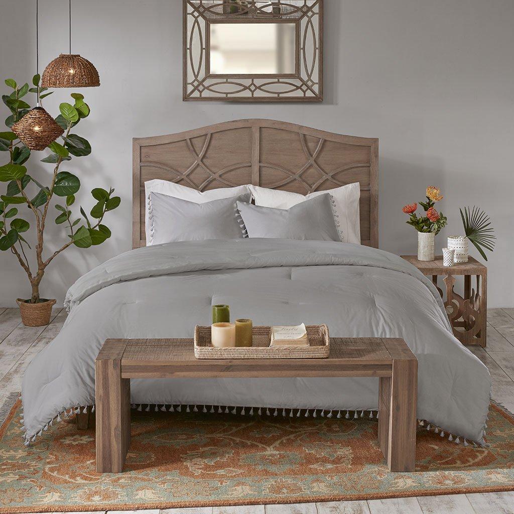 Madison Park Lillian 3 Piece Cotton Comforter Set Grey Full//Queen MP10-5864