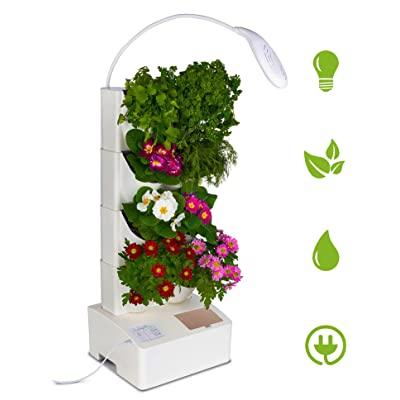 BlueSkyGrow Self Watering Planter - Vertical Planter with LED Light, Water Pump, 8 Pots for Herbs & Flowers | Herb Grower | Coutertop Garden | New Improved Design (Plants not Included): Garden & Outdoor
