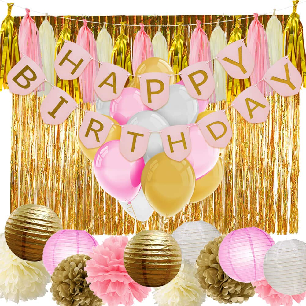 Amazon PAXCOO Pink And Gold Birthday Decorations With Banner Balloons Tissue Flowers Paper Lanterns Fringe Curtain For Baby Shower Girls 1st