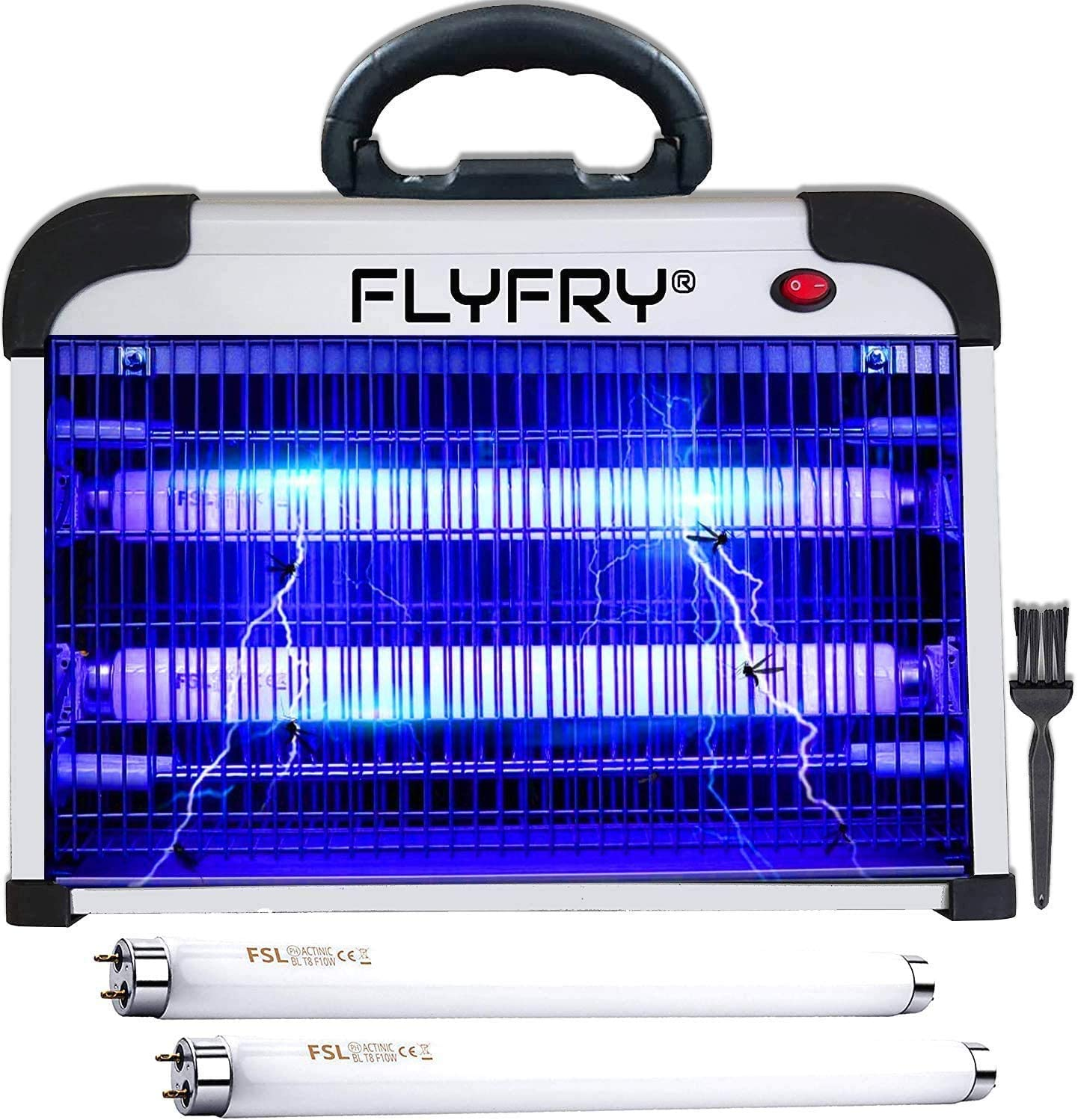 FLYFRY Bug Zapper Indoor 20w 2800v, Electric Insect Fly Killer Mosquito Pest Lamp Electrocutor, Fly Insect Killer, Indoor, Silver Aluminum