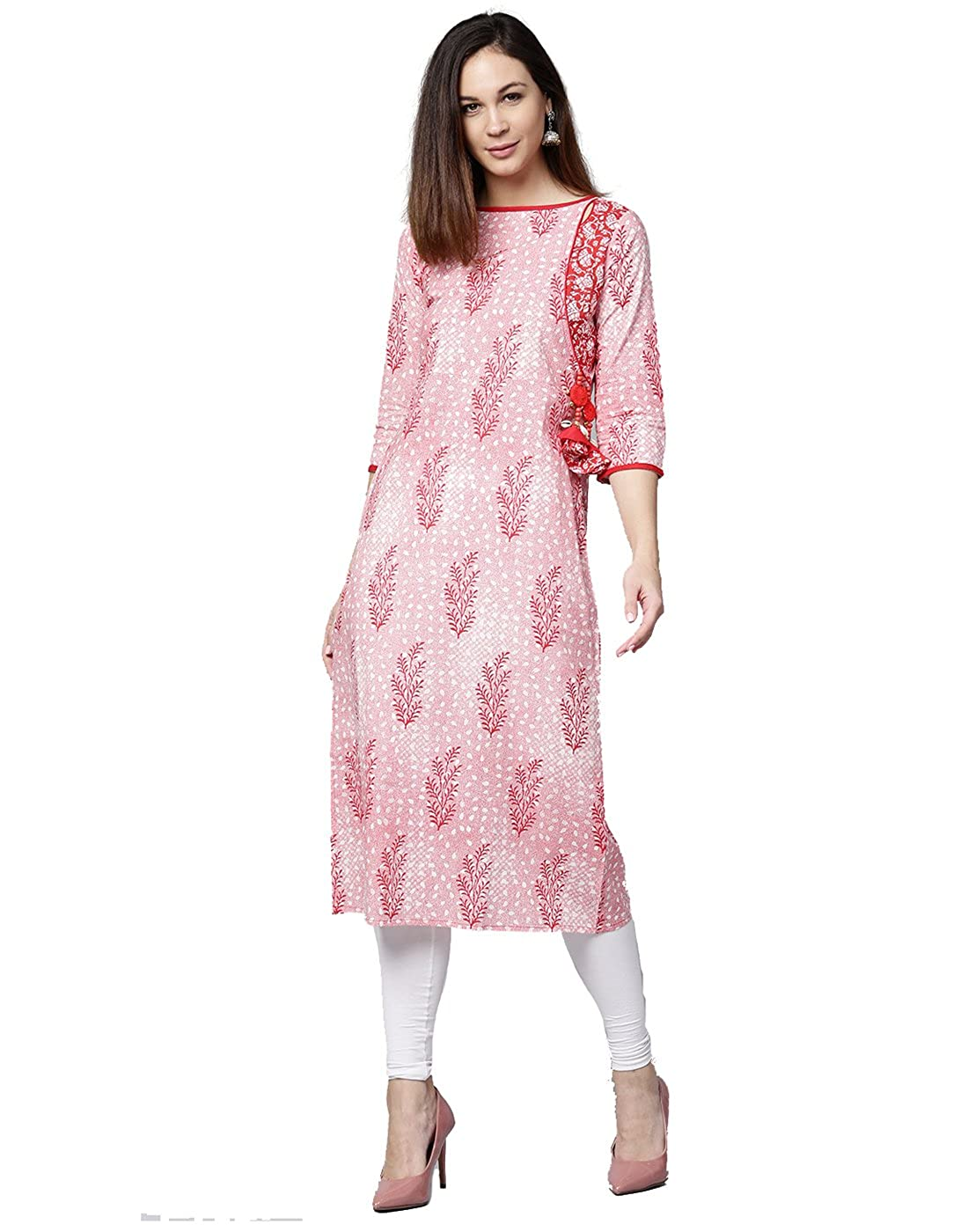 Jaipur Kurti Women Red Ethnic Motifs Straight Cotton Kurta