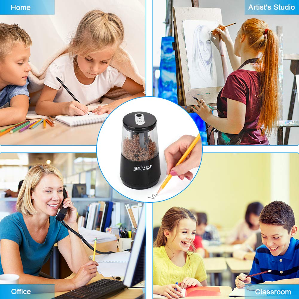 Stuff Planet Electric Pencil Sharpener,Heavy Duty Helical Blade,for School Classroom Office Home Kids Artists,AC Powered/USB/Battery Operated with Auto Stop Feature for No.2 and Colored Pencils(Black) by Stuff Planet (Image #6)