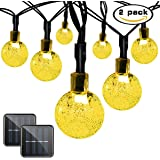 Binval 2-Pack Solar Fairy Crystal String Lights for Outdoor Patio Lawn Landscape Garden Home Wedding Holiday and Christmas decorations[19.7feet - 6m - 30LED-Warm White]