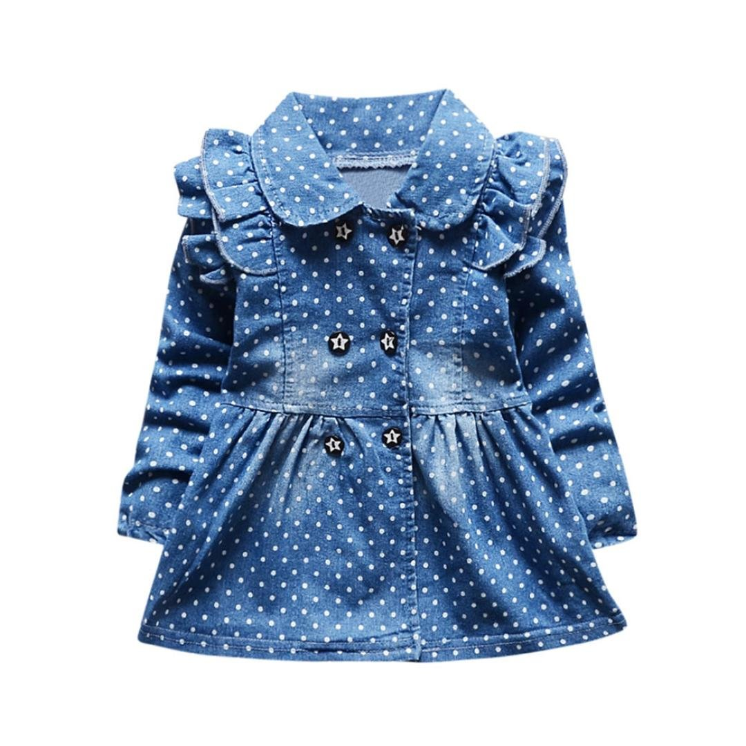 Blue, 18-24M FEITONG Toddler Baby Girls Ruched Dot Print Long Sleeve Princess Denim Dress Outfits