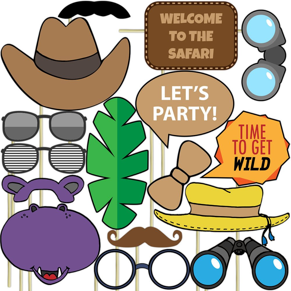 Blue Orchards Safari Photo Props (32 Pieces) for Photo Booths, Kids Birthdays, Jungle Themed Parties and More! Our Safari Photo Booth Party Favors are Pre-Made (Not DIY) for Your Convenience! by Blue Orchards (Image #2)