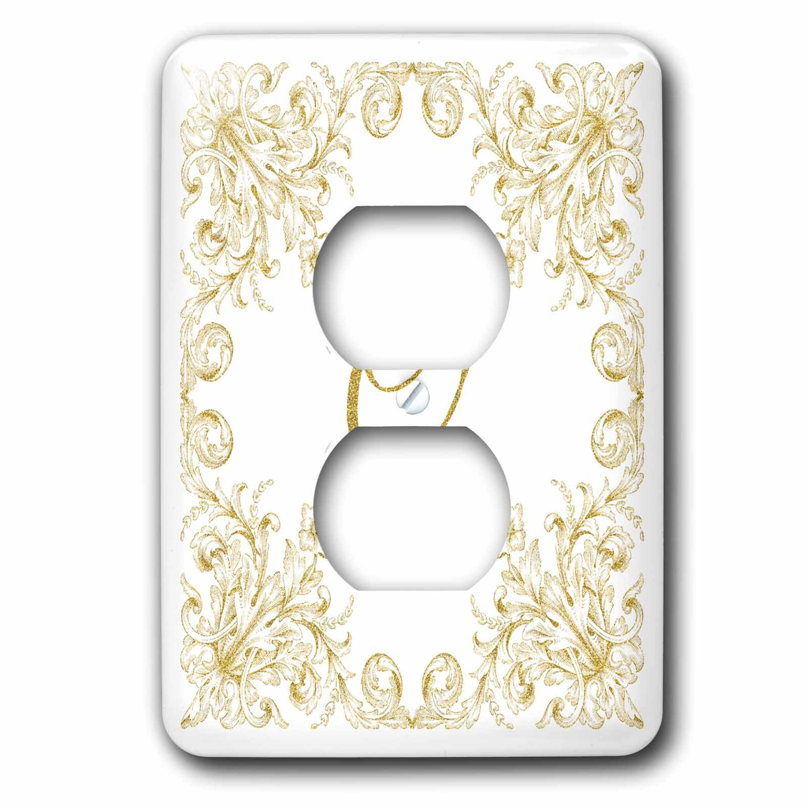 3dRose Uta Naumann Personal Monogram Initials - Letter Q Personal Luxury Vintage Glitter Monogram-Personalized Initial - Light Switch Covers - 2 plug outlet cover (lsp_275316_6) by 3dRose (Image #1)