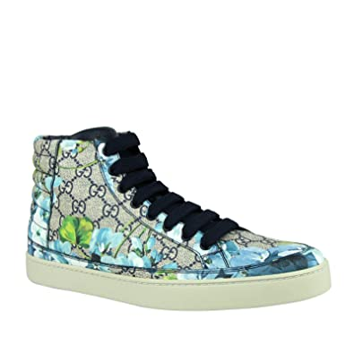 fa4b47b1889 Gucci Men s Bloom Print Supreme GG Blue Canvas Hi Top Sneaker Shoes 407342  8470 (6.5