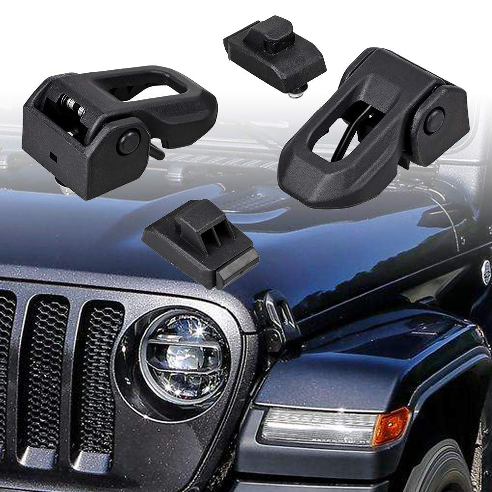 Astra Depot 1 Pair of Black Aluminum Hood Latches Lock Catch Locking Kit Compatible with 2018 2019 Jeep Wrangler JL 2pcs, Black