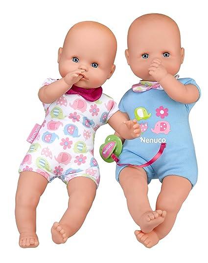 Nenuco Twins Muñecos bebés Hermanos Gemelos niñas de 1 a 3 años, Color, biberon sonajero y Chupete (Famosa 700015451)