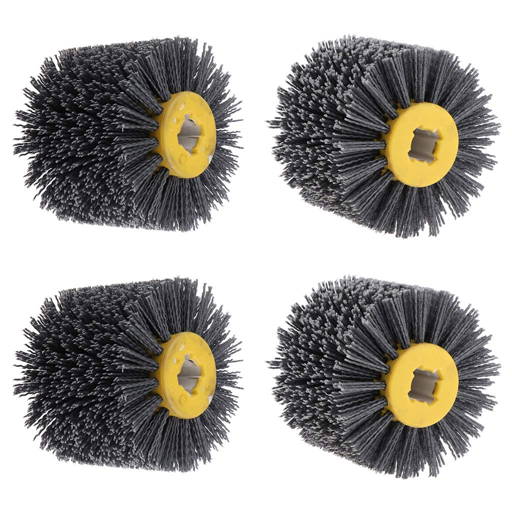 DYNWAVE 4 Pieces 120 x 100mm Abrasive Wire Drawing Wheel Burnishing Brush for Wood Furniture Polishing