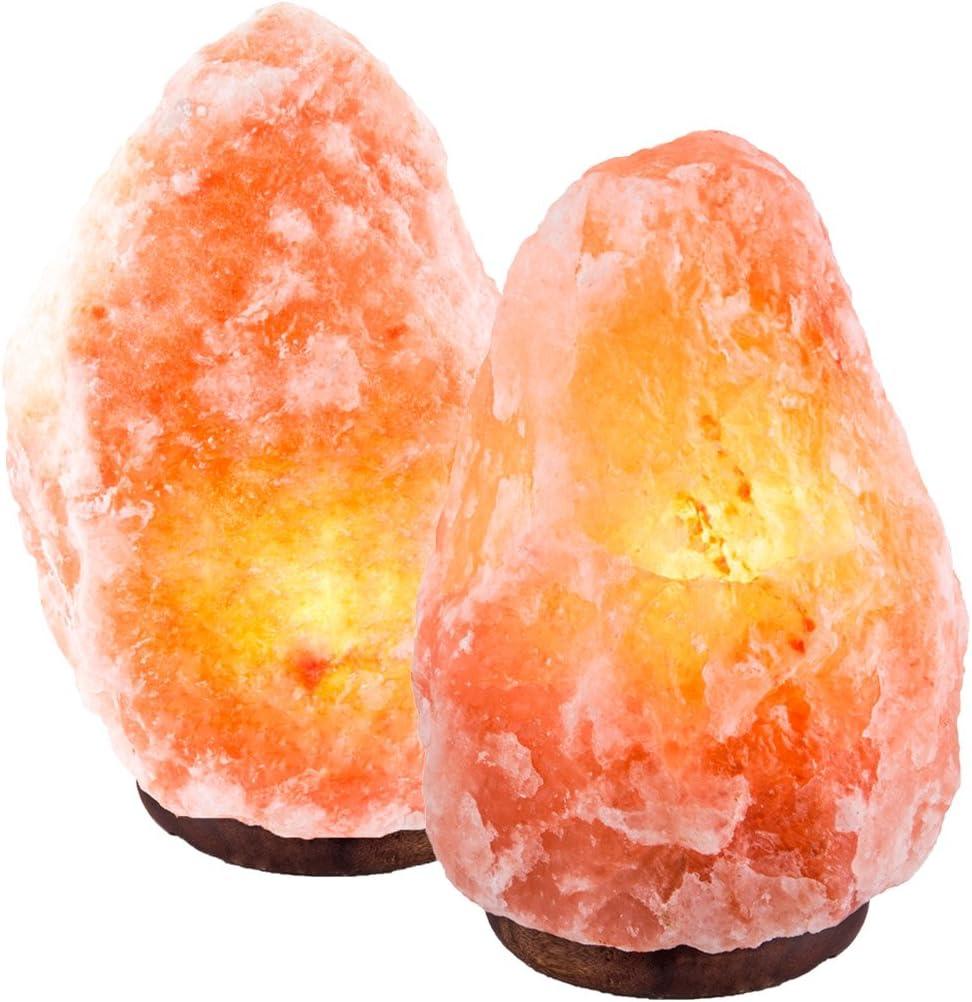 2 Natural Himalayan Pink Salt Lamp w/ Bulb & Cord