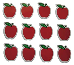 Novel Merk Red Apple Teacher Appreciation Small Refrigerator Magnets Set for Kids Party Favors & School Carnival Prizes Miniature Design (12 Pieces)