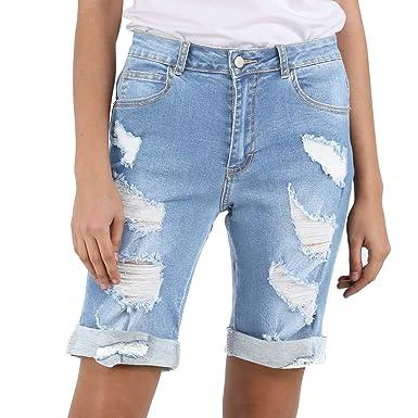 404512de4 HOCAIES Womens High Waist Denim Shorts Knee Length Destroyed Stretch  Bermuda Jean Shorts (US 2