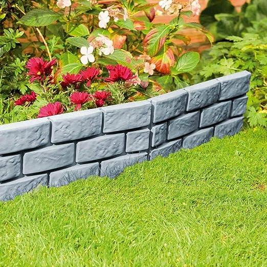 Cerca de ladrillo gris Patio Jardín Césped ribete Piedra frontera de la planta cerca del jardín ladrillos de cemento cerca del cemento de piedra del molde delicada ...