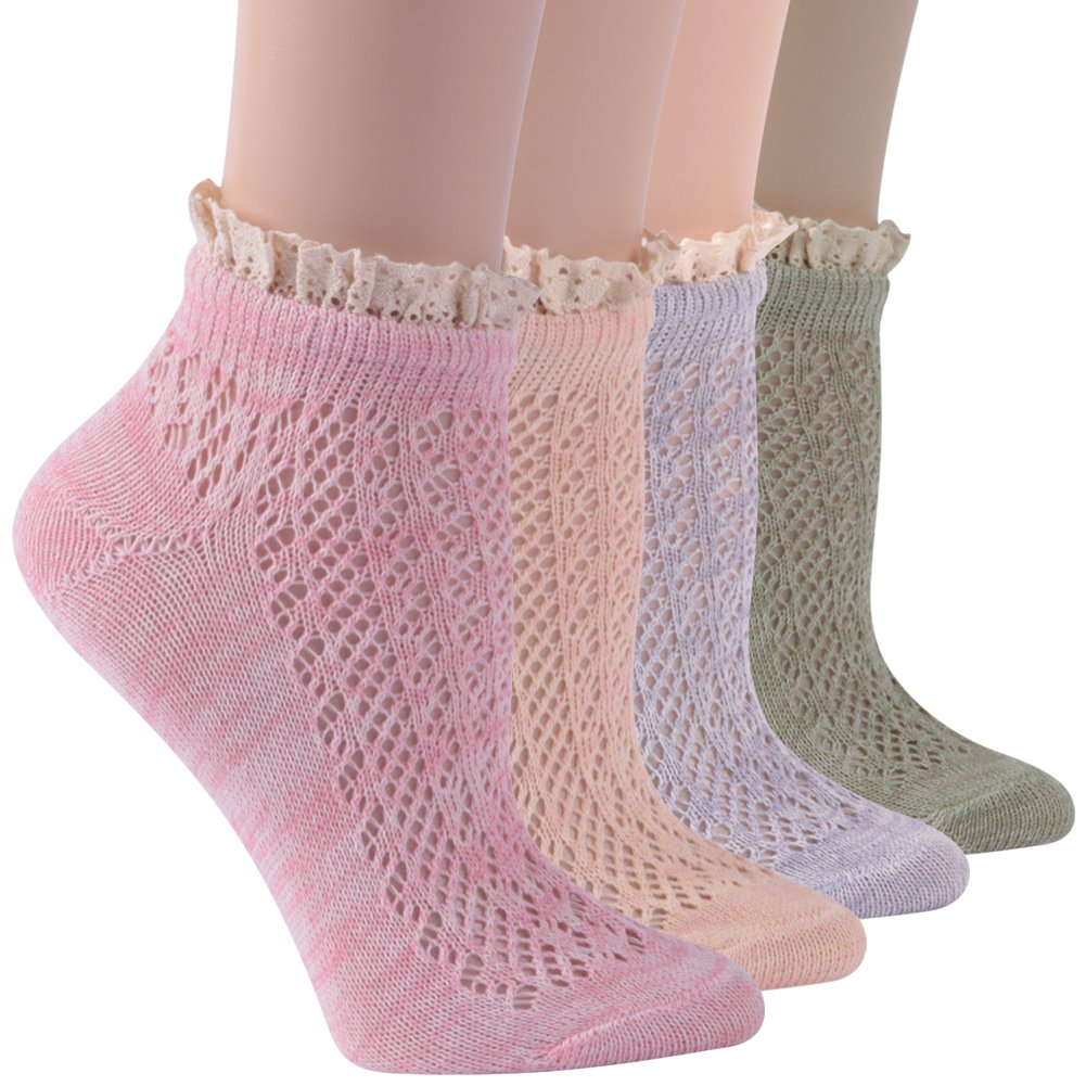 Lady's Lace Socks, Socks Daze 5 Pack Elegant Crochet Lace Trim Cotton Knit Crew Socks