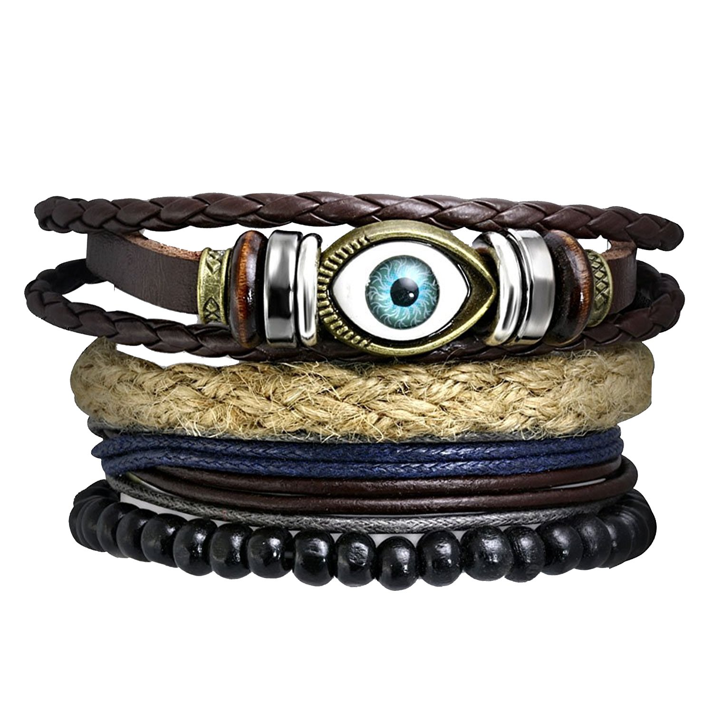 The Jewelbox Zivom Eyes Multilayer Handcrafted Black Leather Charm Wrist Band Multi Strand Bracelet Men