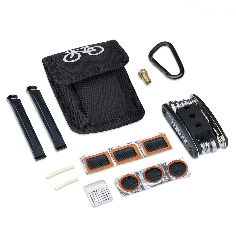 Meersee Multi-funzione Bici Bicicletta Ciclismo Strumenti di Riparazione Kit Pneumatici Bici Multifunzione Kit Accessori con Toppe Leve Pouch (Colla non inclusa) DHWZXCGJ1