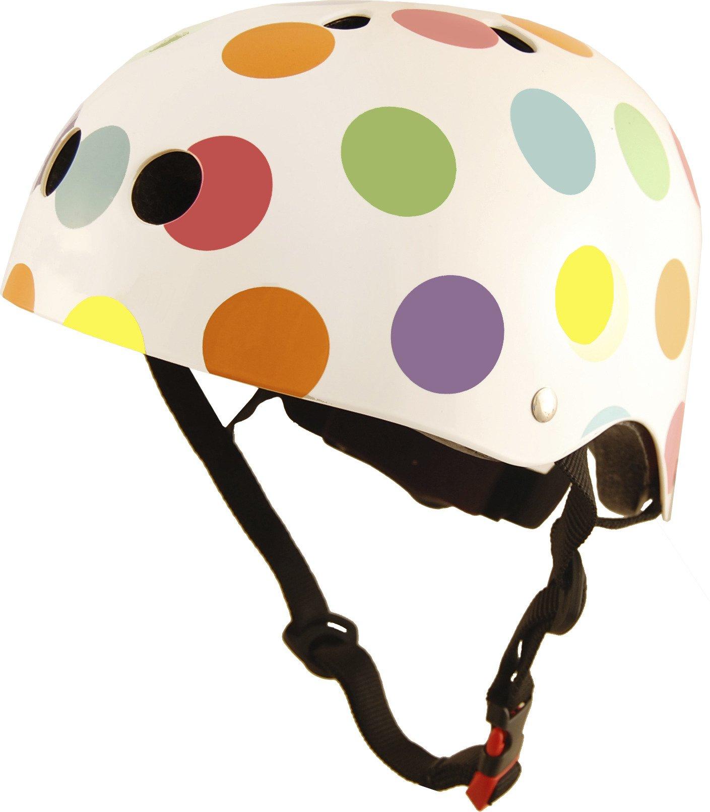 Kiddimoto Kids Patterned Helmet (Pastel Dotty, Medium)