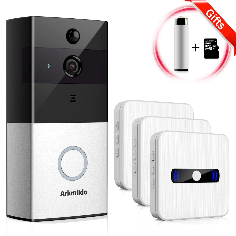 Arkmiido WiFi Wireless Enabled Video Doorbell Camera [ 1 Battery Activatable ] + 3 Plug Waterproof Chime Indoor Receiver