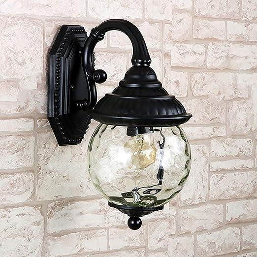 AXWT Negro E27 Lámpara de pared exterior Estilo europeo Bola Luz de pared Jardín Villa Aplique Aplique Corredor Led Farola Lámpara de mesa Lámpara de mesa Linterna: Amazon.es: Hogar
