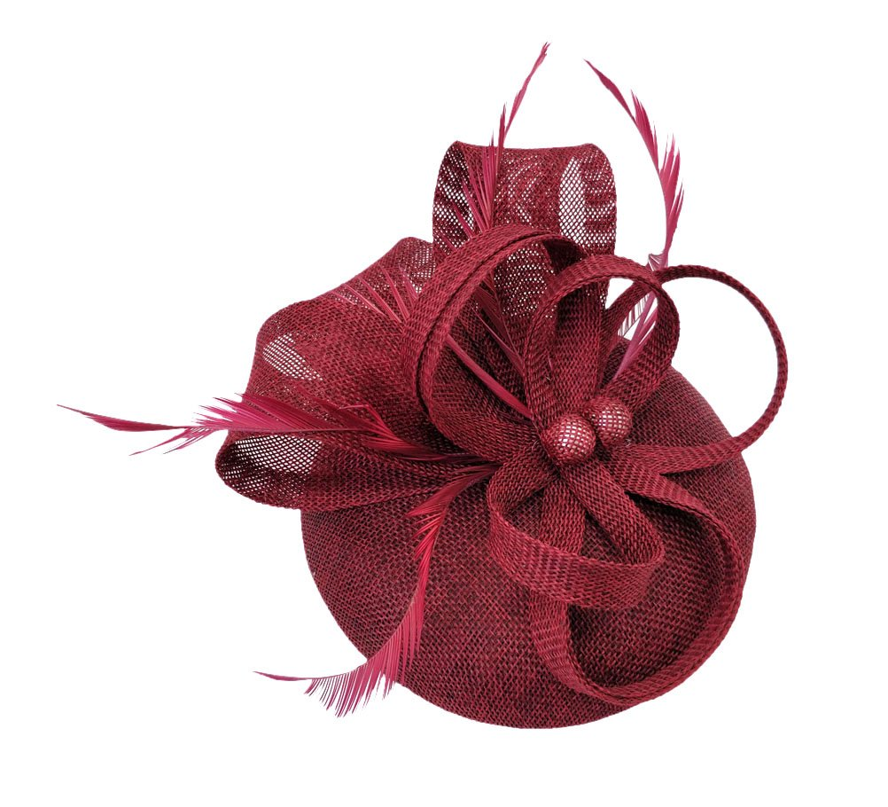 Ahugehome Fascinator Headband Hair Clip Feather Pillbox Hat Mesh Cocktail Party Wedding (KD Burgundy)